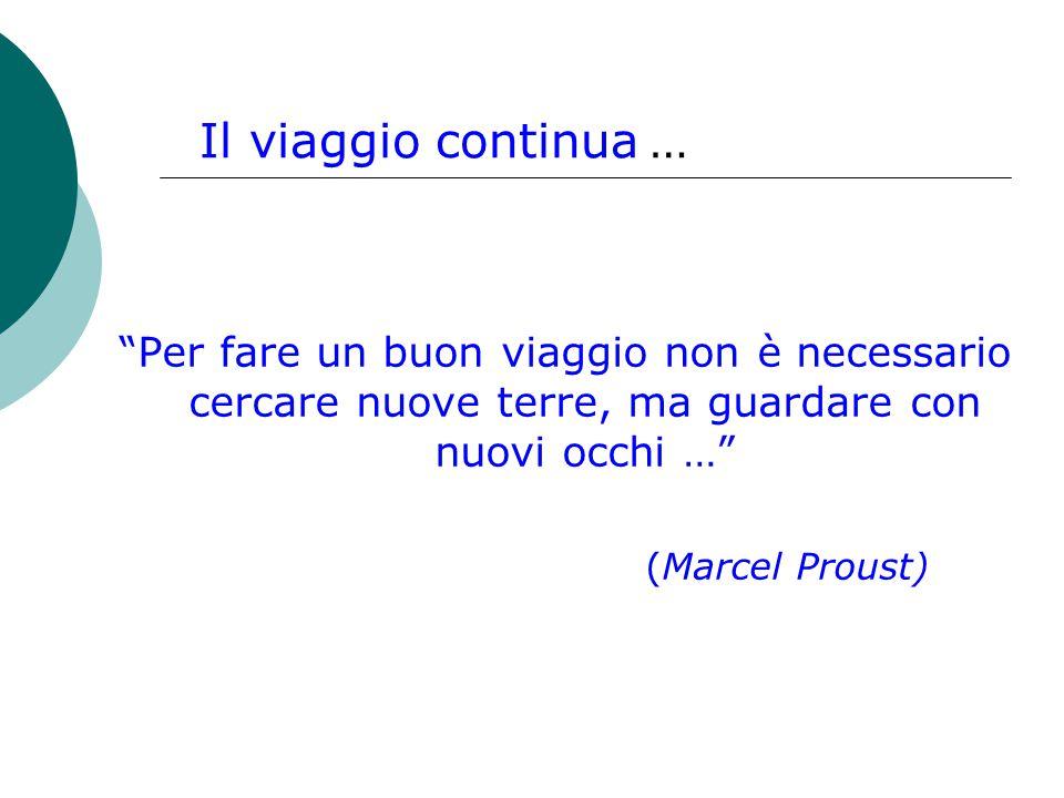 Per fare un buon viaggio non è necessario cercare nuove terre, ma guardare con nuovi occhi … (Marcel Proust) Il viaggio continua …