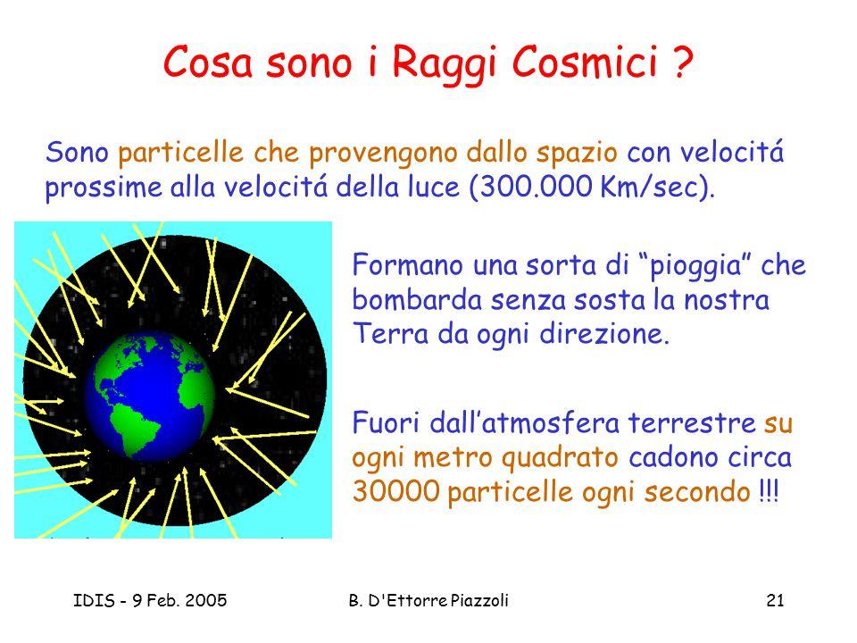IDIS - 9 Feb. 2005B. D'Ettorre Piazzoli21 Cosa sono i Raggi Cosmici ? Sono particelle che provengono dallo spazio con velocitá prossime alla velocitá
