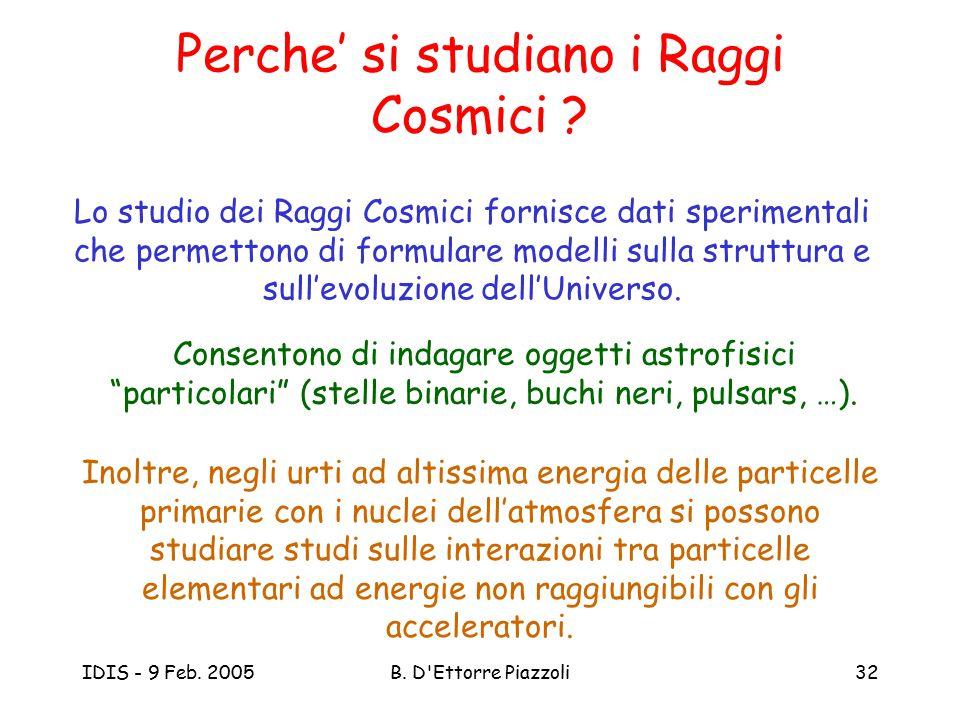 IDIS - 9 Feb. 2005B. D'Ettorre Piazzoli32 Perche' si studiano i Raggi Cosmici ? Lo studio dei Raggi Cosmici fornisce dati sperimentali che permettono