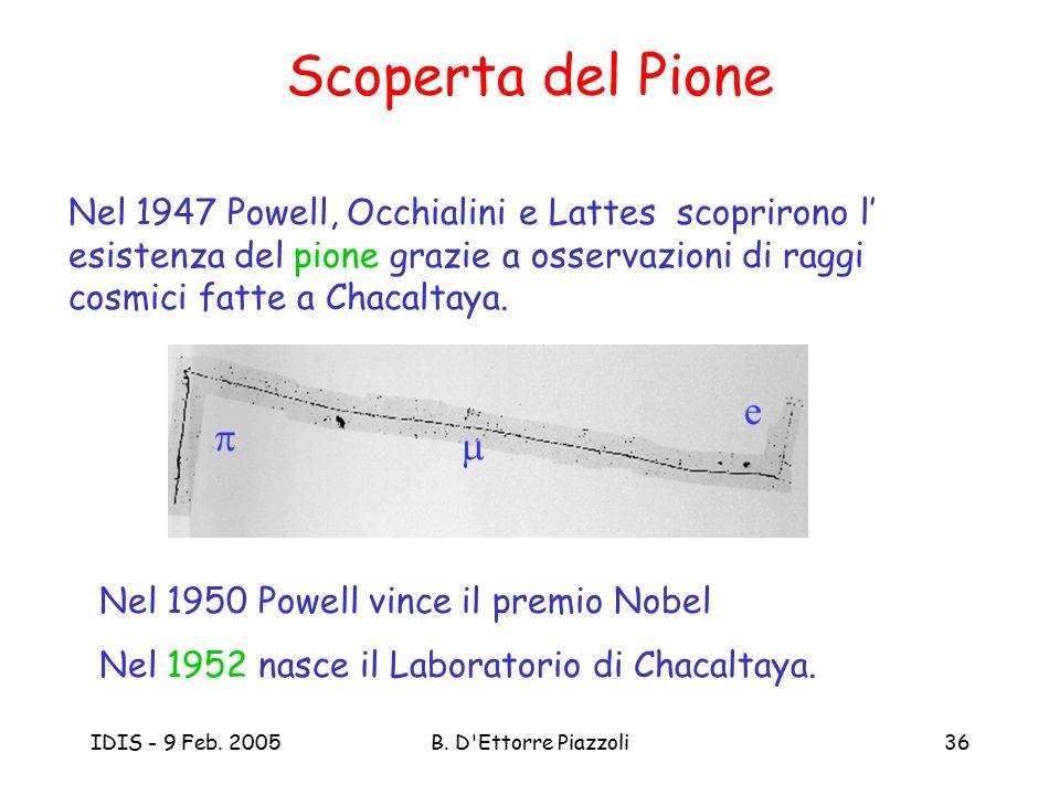 IDIS - 9 Feb. 2005B. D'Ettorre Piazzoli36 Scoperta del Pione Nel 1947 Powell, Occhialini e Lattes scoprirono l' esistenza del pione grazie a osservazi