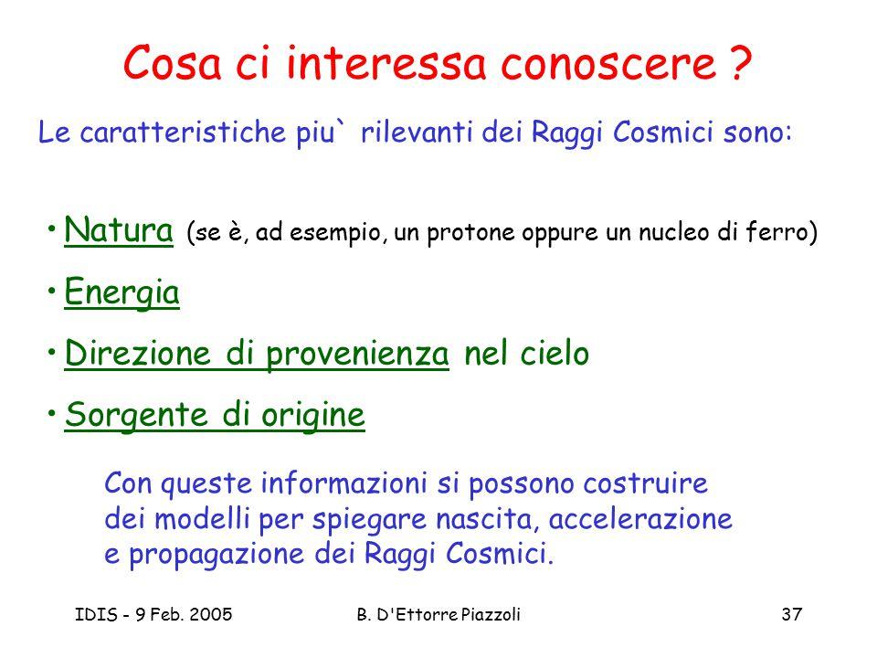IDIS - 9 Feb. 2005B. D'Ettorre Piazzoli37 Cosa ci interessa conoscere ? Le caratteristiche piu` rilevanti dei Raggi Cosmici sono: Natura (se è, ad ese