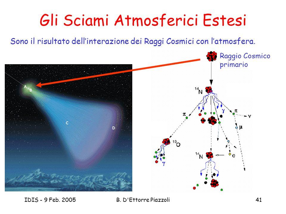 IDIS - 9 Feb. 2005B. D'Ettorre Piazzoli41 Gli Sciami Atmosferici Estesi Sono il risultato dell'interazione dei Raggi Cosmici con l'atmosfera. Raggio C