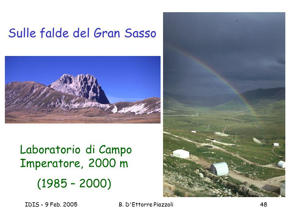 IDIS - 9 Feb. 2005B. D'Ettorre Piazzoli48 Sulle falde del Gran Sasso Laboratorio di Campo Imperatore, 2000 m (1985 – 2000)