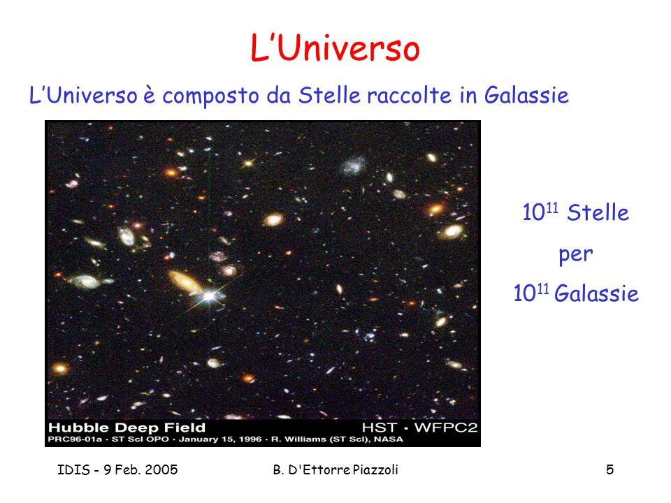 IDIS - 9 Feb. 2005B. D'Ettorre Piazzoli5 L'Universo 10 11 Stelle per 10 11 Galassie L'Universo è composto da Stelle raccolte in Galassie