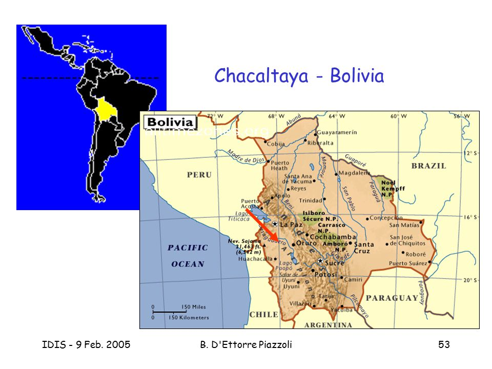 IDIS - 9 Feb. 2005B. D'Ettorre Piazzoli53 Chacaltaya - Bolivia