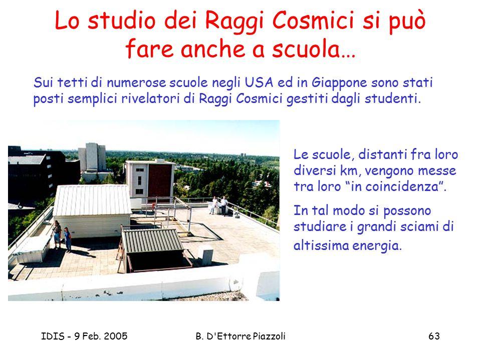 IDIS - 9 Feb. 2005B. D'Ettorre Piazzoli63 Lo studio dei Raggi Cosmici si può fare anche a scuola… Sui tetti di numerose scuole negli USA ed in Giappon
