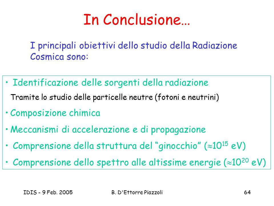 IDIS - 9 Feb. 2005B. D'Ettorre Piazzoli64 In Conclusione… I principali obiettivi dello studio della Radiazione Cosmica sono: Identificazione delle sor