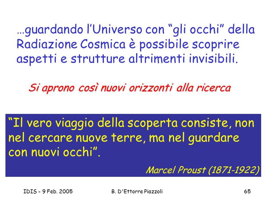 """IDIS - 9 Feb. 2005B. D'Ettorre Piazzoli65 """"Il vero viaggio della scoperta consiste, non nel cercare nuove terre, ma nel guardare con nuovi occhi"""". Mar"""