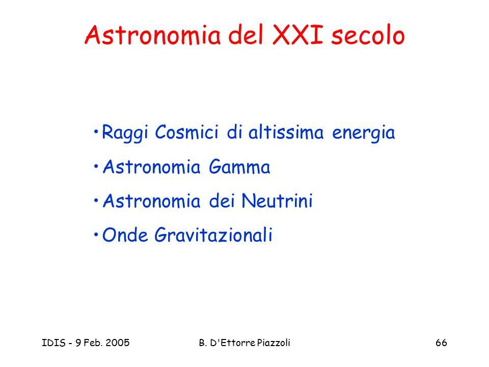 IDIS - 9 Feb. 2005B. D'Ettorre Piazzoli66 Astronomia del XXI secolo Raggi Cosmici di altissima energia Astronomia Gamma Astronomia dei Neutrini Onde G