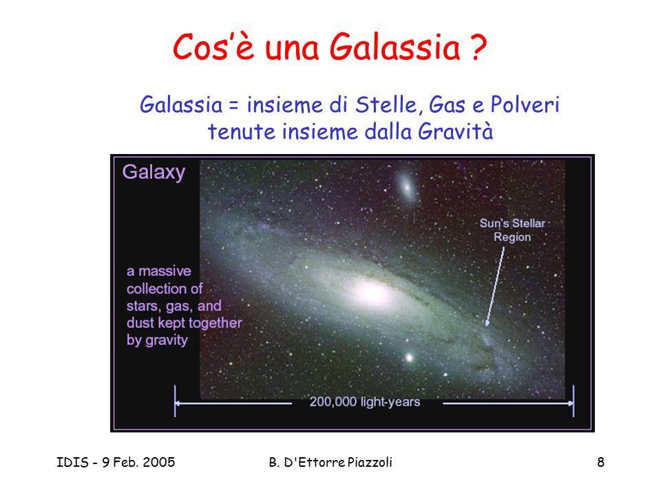 IDIS - 9 Feb. 2005B. D'Ettorre Piazzoli8 Cos'è una Galassia ? Galassia = insieme di Stelle, Gas e Polveri tenute insieme dalla Gravità