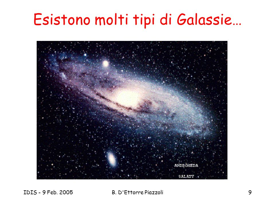 IDIS - 9 Feb. 2005B. D Ettorre Piazzoli10 Esistono molti tipi di Galassie…