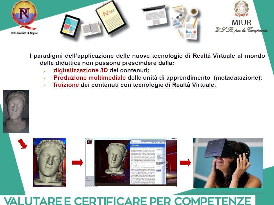 I paradigmi dell'applicazione delle nuove tecnologie di Realtà Virtuale al mondo della didattica non possono prescindere dalla:  digitalizzazione 3D