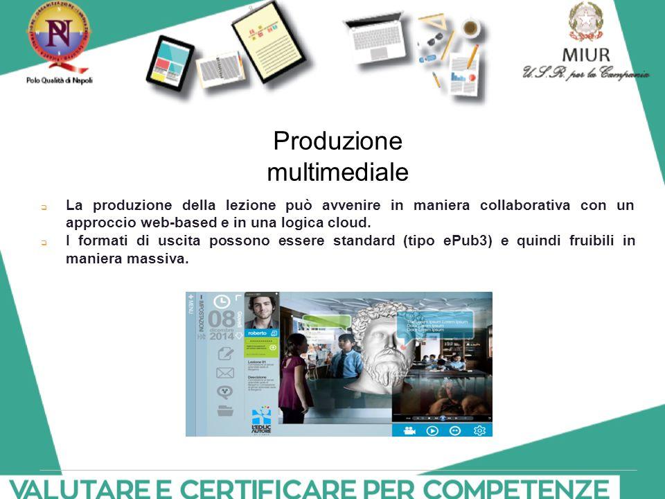 Produzione multimediale  La produzione della lezione può avvenire in maniera collaborativa con un approccio web-based e in una logica cloud.  I form