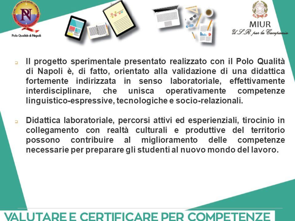  Il progetto sperimentale presentato realizzato con il Polo Qualità di Napoli è, di fatto, orientato alla validazione di una didattica fortemente ind