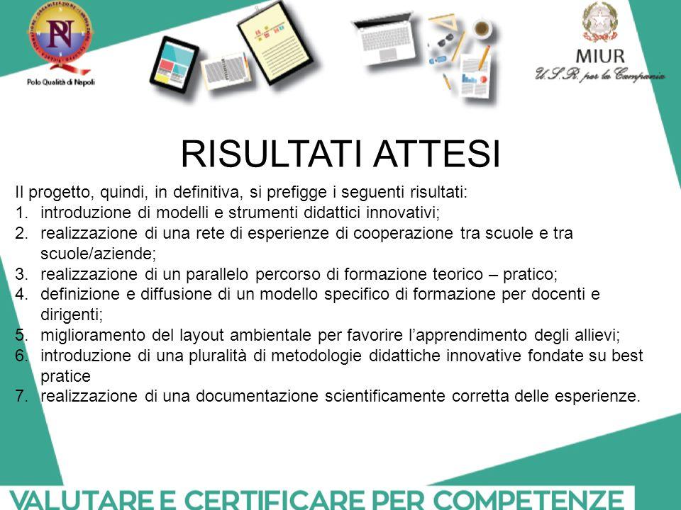 Il progetto, quindi, in definitiva, si prefigge i seguenti risultati: 1.introduzione di modelli e strumenti didattici innovativi; 2.realizzazione di u