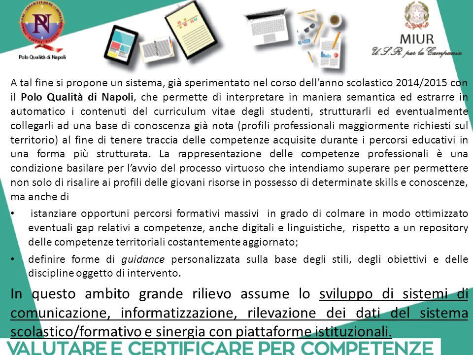 A tal fine si propone un sistema, già sperimentato nel corso dell'anno scolastico 2014/2015 con il Polo Qualità di Napoli, che permette di interpretar
