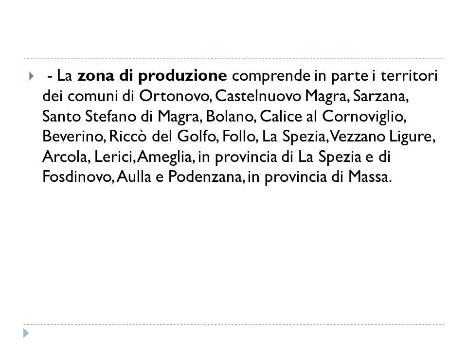  - La zona di produzione comprende in parte i territori dei comuni di Ortonovo, Castelnuovo Magra, Sarzana, Santo Stefano di Magra, Bolano, Calice al