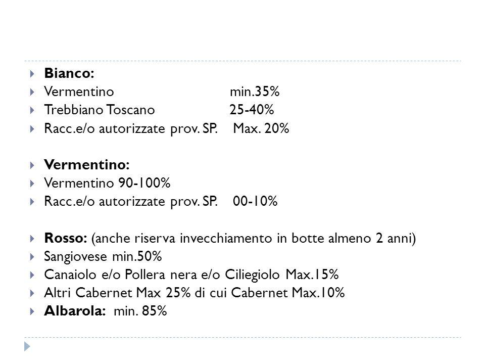  Bianco:  Vermentino min.35%  Trebbiano Toscano 25-40%  Racc.e/o autorizzate prov. SP. Max. 20%  Vermentino:  Vermentino 90-100%  Racc.e/o auto