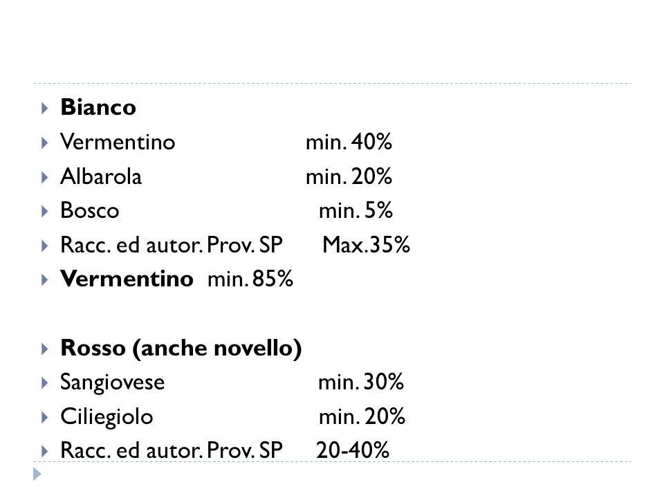  Bianco  Vermentinomin. 40%  Albarolamin. 20%  Bosco min. 5%  Racc. ed autor. Prov. SP Max.35%  Vermentino min. 85%  Rosso (anche novello)  Sa