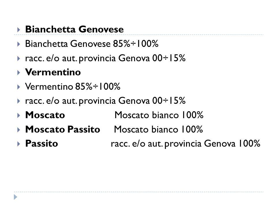  Bianchetta Genovese  Bianchetta Genovese 85%÷100%  racc. e/o aut. provincia Genova 00÷15%  Vermentino  Vermentino 85%÷100%  racc. e/o aut. prov