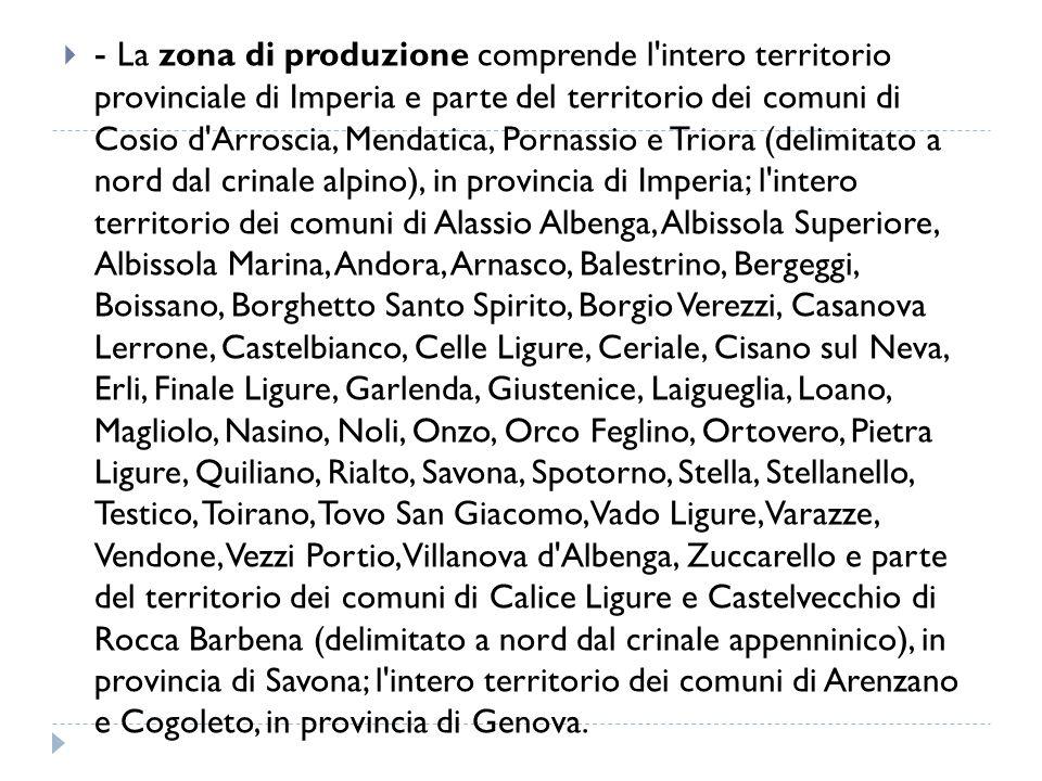  - La zona di produzione comprende l'intero territorio provinciale di Imperia e parte del territorio dei comuni di Cosio d'Arroscia, Mendatica, Porna