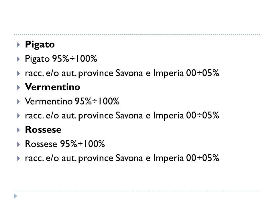  Pigato  Pigato 95%÷100%  racc. e/o aut. province Savona e Imperia 00÷05%  Vermentino  Vermentino 95%÷100%  racc. e/o aut. province Savona e Imp