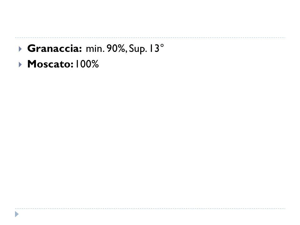  Granaccia: min. 90%, Sup. 13°  Moscato: 100%
