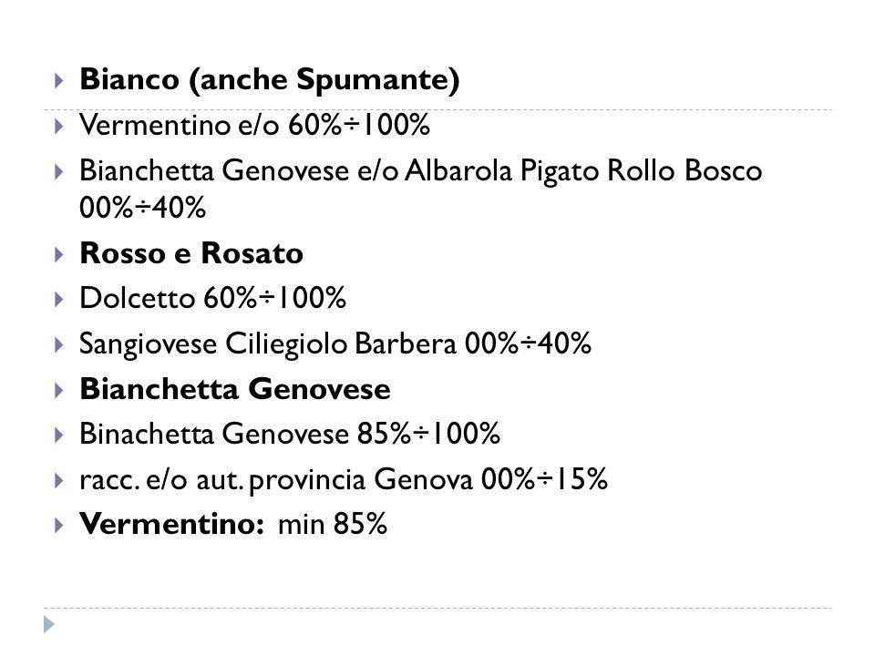  Bianco (anche Spumante)  Vermentino e/o 60%÷100%  Bianchetta Genovese e/o Albarola Pigato Rollo Bosco 00%÷40%  Rosso e Rosato  Dolcetto 60%÷100%