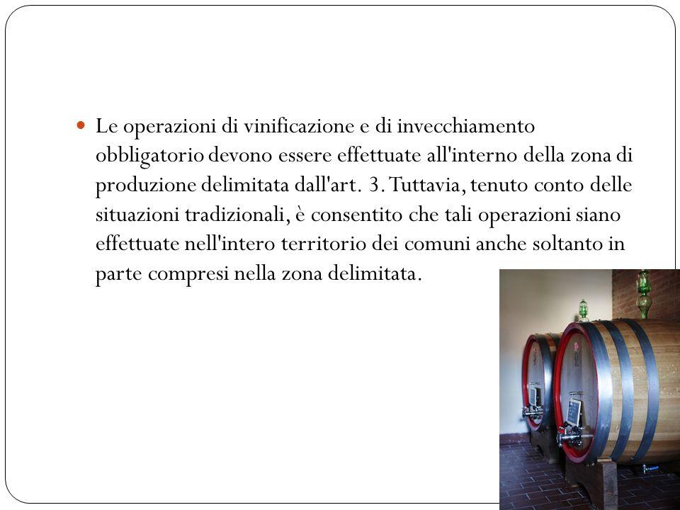 Le operazioni di vinificazione e di invecchiamento obbligatorio devono essere effettuate all'interno della zona di produzione delimitata dall'art. 3.