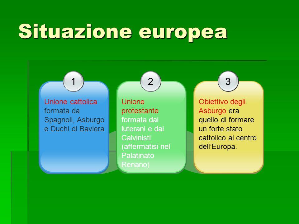 Situazione europea 1 Unione cattolica formata da Spagnoli, Asburgo e Duchi di Baviera 3 Obiettivo degli Asburgo era quello di formare un forte stato c