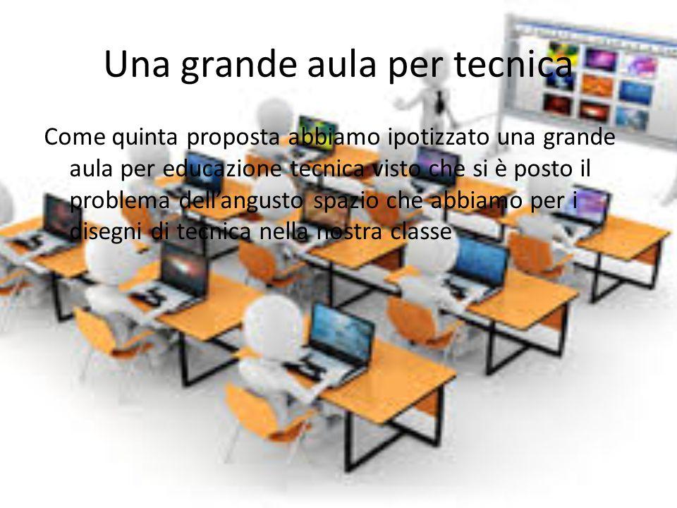 Una grande aula per tecnica Come quinta proposta abbiamo ipotizzato una grande aula per educazione tecnica visto che si è posto il problema dell'angusto spazio che abbiamo per i disegni di tecnica nella nostra classe