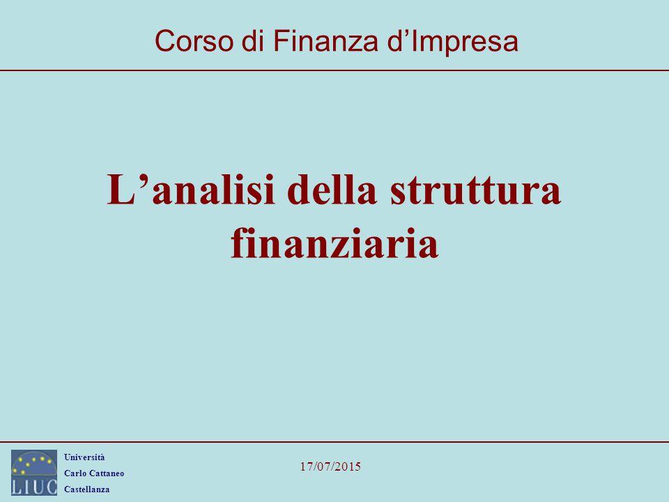 Università Carlo Cattaneo Castellanza 17/07/2015 L'analisi della struttura finanziaria Corso di Finanza d'Impresa
