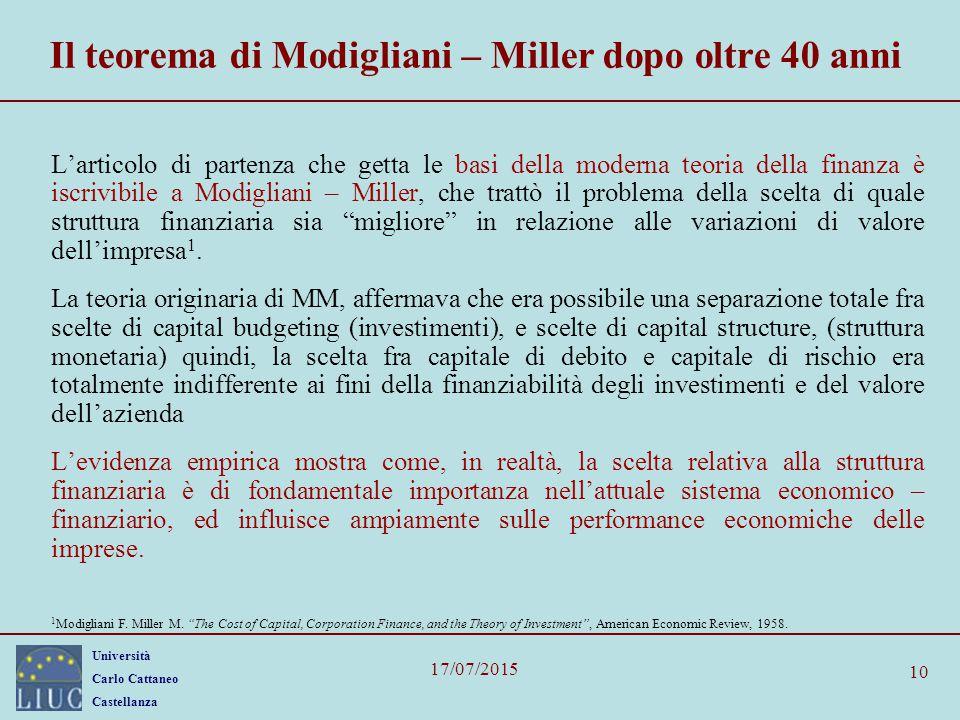 Università Carlo Cattaneo Castellanza 17/07/2015 10 Il teorema di Modigliani – Miller dopo oltre 40 anni L'articolo di partenza che getta le basi dell