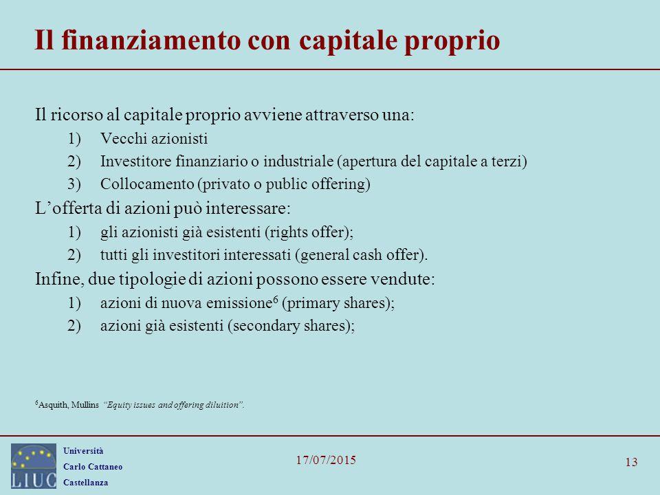Università Carlo Cattaneo Castellanza 17/07/2015 13 Il finanziamento con capitale proprio Il ricorso al capitale proprio avviene attraverso una: 1)Vec