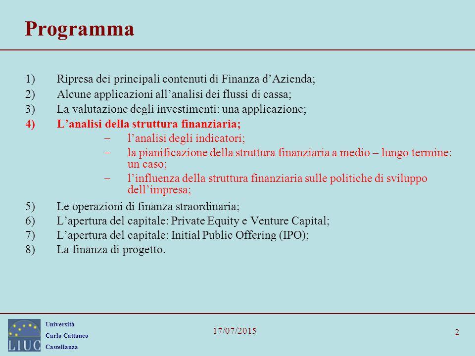 Università Carlo Cattaneo Castellanza 17/07/2015 2 Programma 1)Ripresa dei principali contenuti di Finanza d'Azienda; 2)Alcune applicazioni all'analis