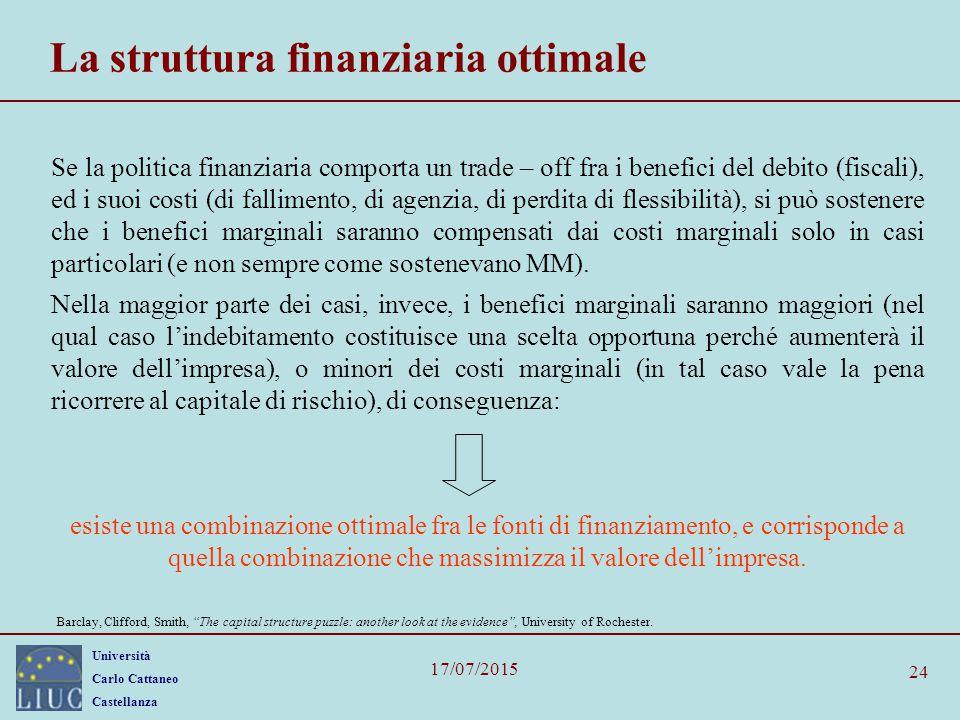 Università Carlo Cattaneo Castellanza 17/07/2015 24 La struttura finanziaria ottimale Se la politica finanziaria comporta un trade – off fra i benefic