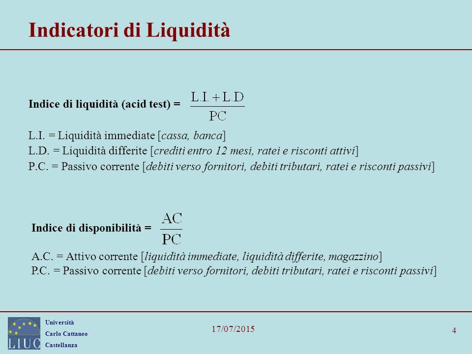 Università Carlo Cattaneo Castellanza 17/07/2015 4 Indicatori di Liquidità Indice di liquidità (acid test) = L.I. = Liquidità immediate [cassa, banca]