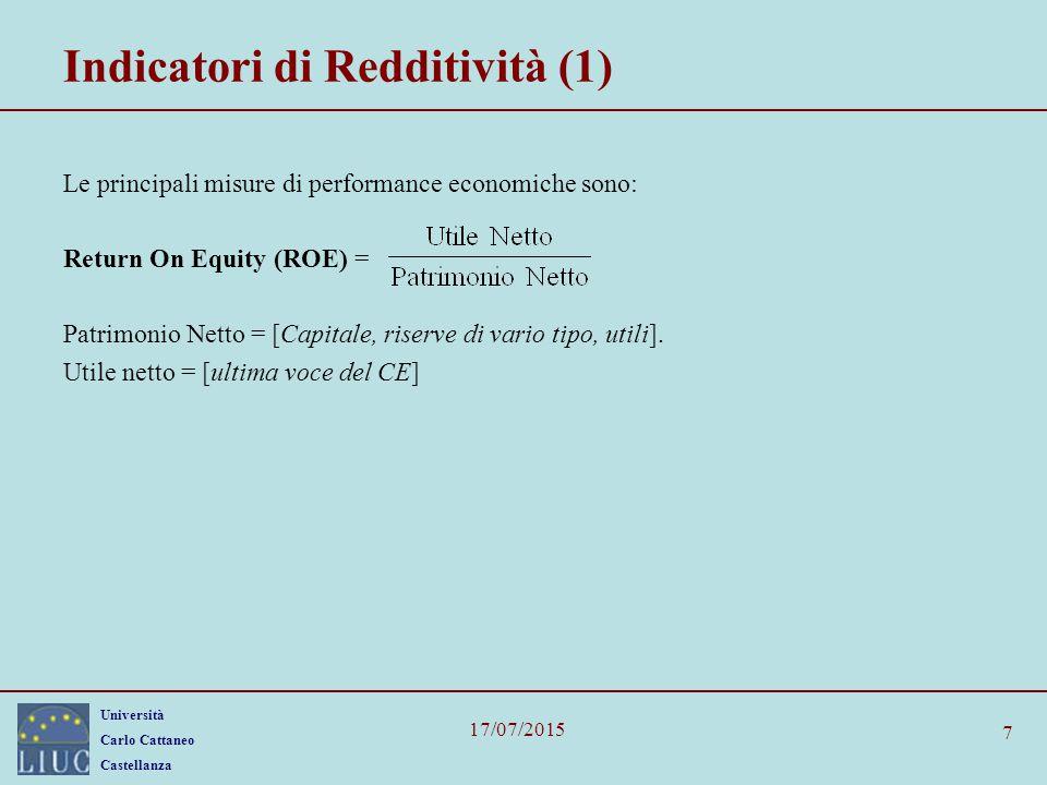 Università Carlo Cattaneo Castellanza 17/07/2015 8 Indicatori di Redditività (2) Return On Investments (ROI ) = Dove con Attività Nette, si intendono tutte le attività in bilanci, meno le voci rettificative (ammortamenti).