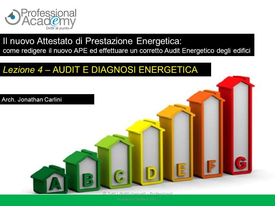 Lezione 4 – AUDIT E DIAGNOSI ENERGETICA Arch. Jonathan Carlini Il nuovo Attestato di Prestazione Energetica: come redigere il nuovo APE ed effettuare