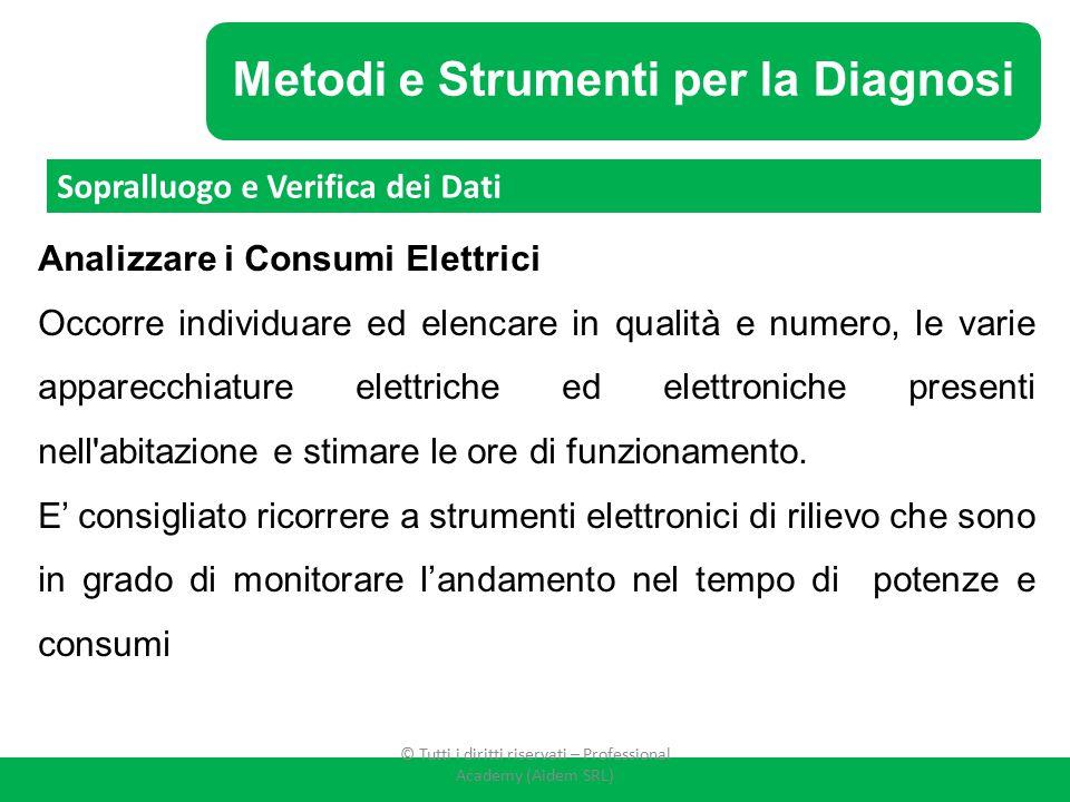 Metodi e Strumenti per la Diagnosi Analizzare i Consumi Elettrici Occorre individuare ed elencare in qualità e numero, le varie apparecchiature elettr