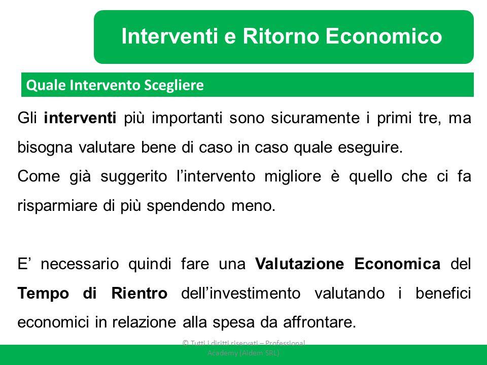 Interventi e Ritorno Economico Gli interventi più importanti sono sicuramente i primi tre, ma bisogna valutare bene di caso in caso quale eseguire. Co