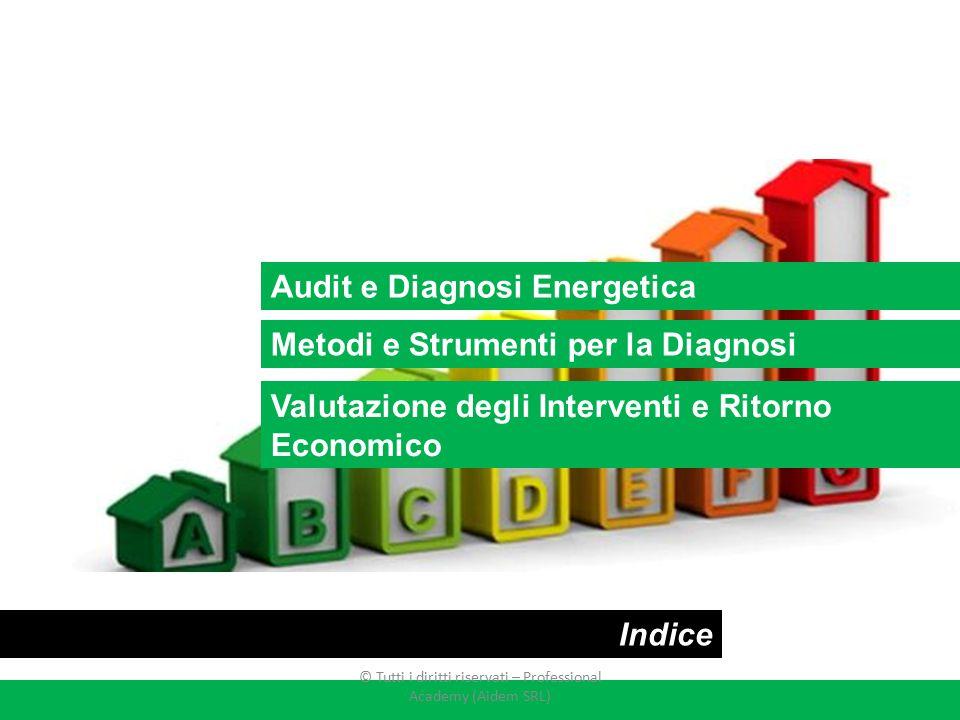 Audit e Diagnosi Energetica Metodi e Strumenti per la Diagnosi Indice Valutazione degli Interventi e Ritorno Economico © Tutti i diritti riservati – P