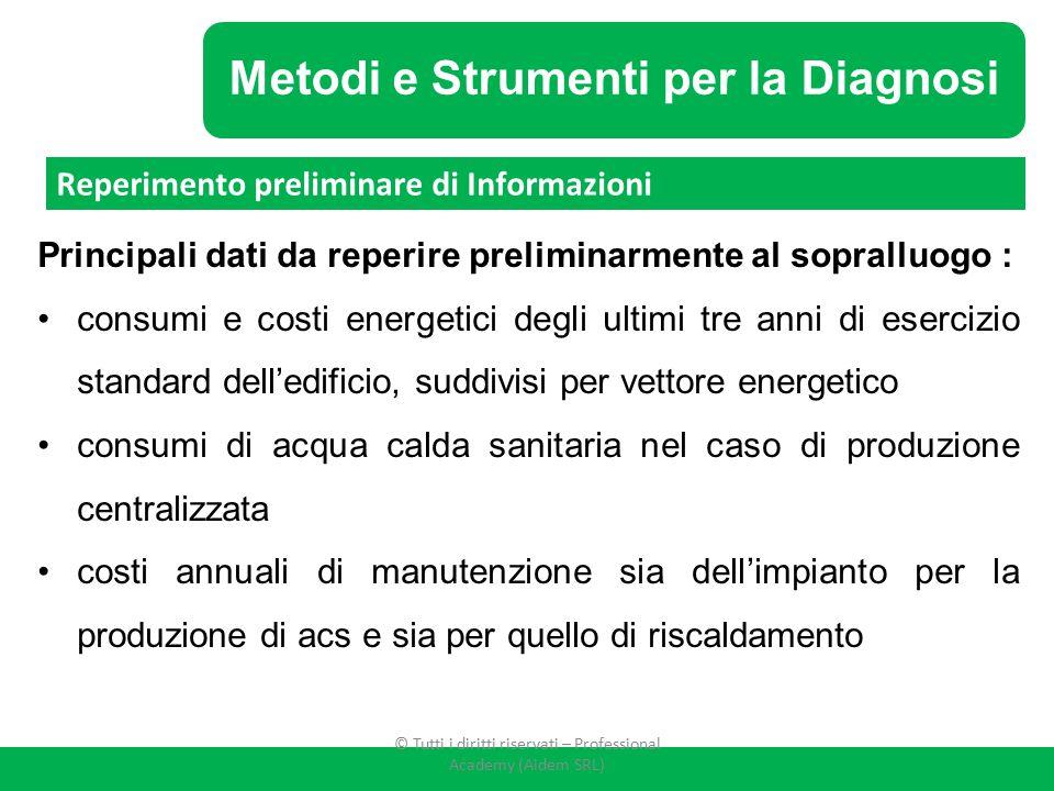 Metodi e Strumenti per la Diagnosi Principali dati da reperire preliminarmente al sopralluogo : consumi e costi energetici degli ultimi tre anni di es
