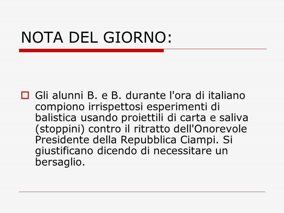 NOTA DEL GIORNO:  Gli alunni B. e B. durante l'ora di italiano compiono irrispettosi esperimenti di balistica usando proiettili di carta e saliva (st