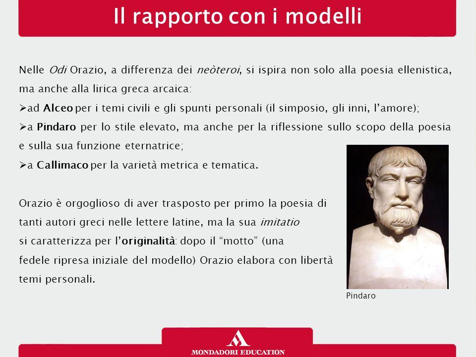 Il rapporto con i modelli Nelle Odi Orazio, a differenza dei neòteroi, si ispira non solo alla poesia ellenistica, ma anche alla lirica greca arcaica:
