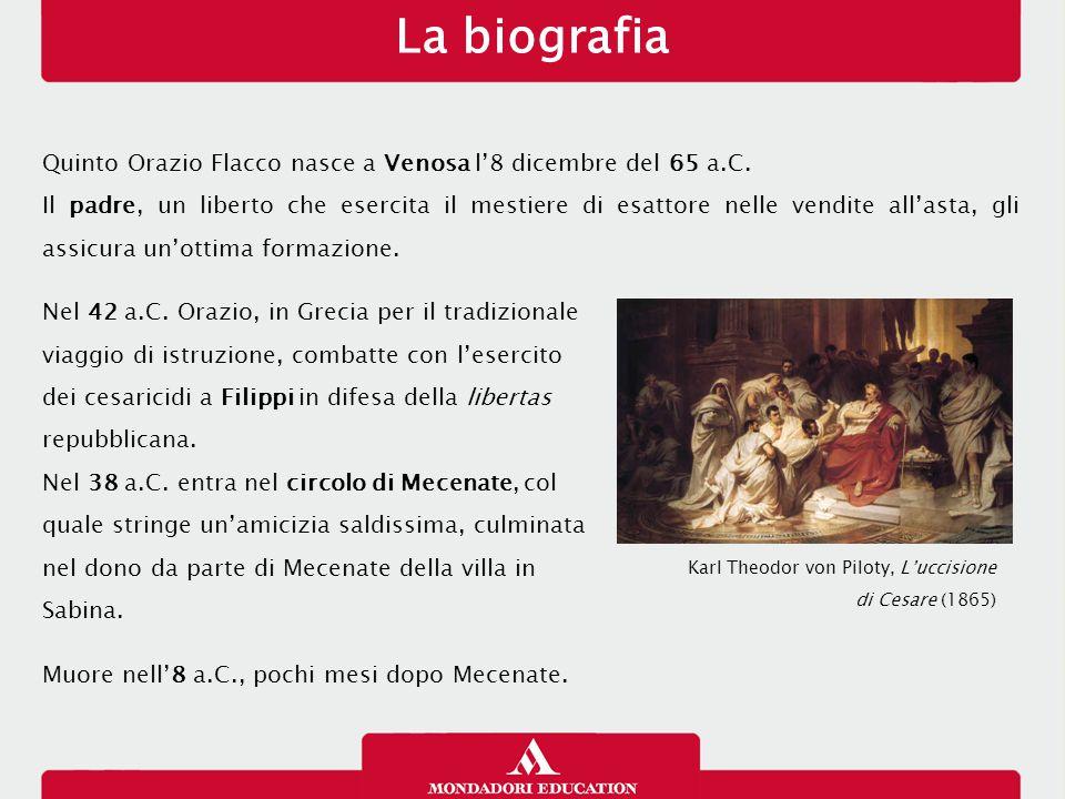 Quinto Orazio Flacco nasce a Venosa l'8 dicembre del 65 a.C. Il padre, un liberto che esercita il mestiere di esattore nelle vendite all'asta, gli ass