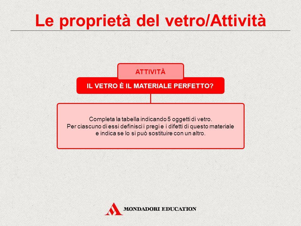I tipi di vetro/Attività AGUZZA LA VISTA! ATTIVITÀ 1. 2. 3. 4. 5. OGGETTO TIPO DI VETRO