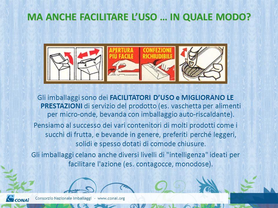 Consorzio Nazionale Imballaggi - www.conai.org MA ANCHE FACILITARE L'USO … IN QUALE MODO? Gli imballaggi sono dei FACILITATORI D'USO e MIGLIORANO LE P