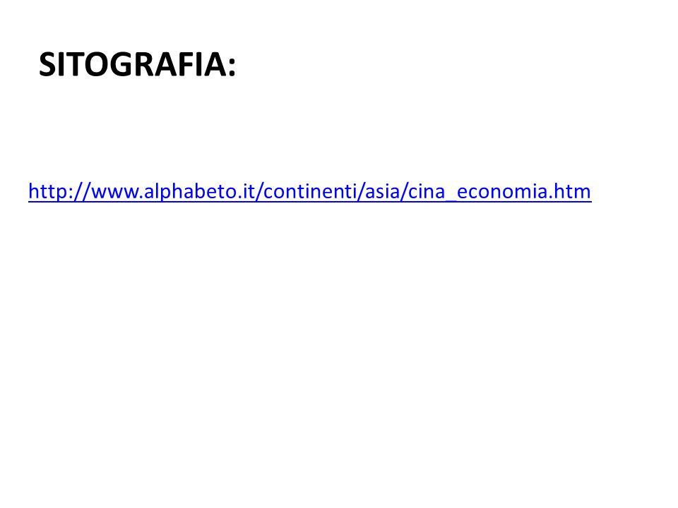 SITOGRAFIA: http://www.alphabeto.it/continenti/asia/cina_economia.htm