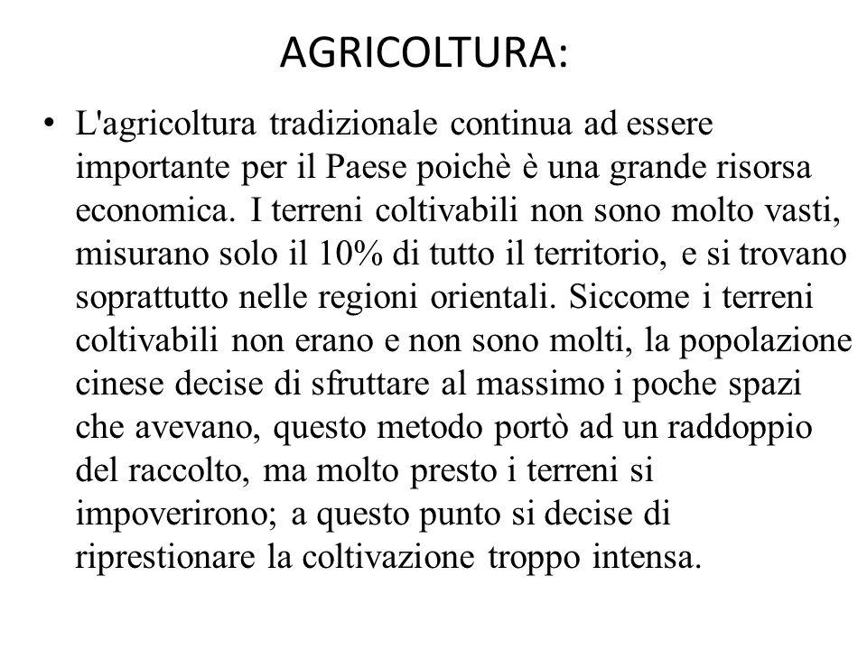 AGRICOLTURA: L'agricoltura tradizionale continua ad essere importante per il Paese poichè è una grande risorsa economica. I terreni coltivabili non so